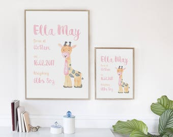 Giraffe Birth Announcement Print. New Baby. Nursery. Bedroom. Baby Shower Gift.