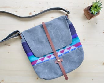 30% off Sale! Waxed Canvas Messenger Bag made with Pendleton® Wool / Waxed Canvas Crossbody Bag