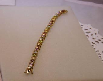 Gold Over 925 Multi Stone Tennis Bracelet