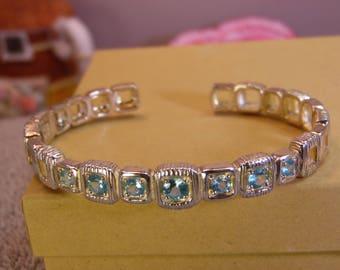 Sterling Silver Aquamarine Hinged Cuff Bracelet