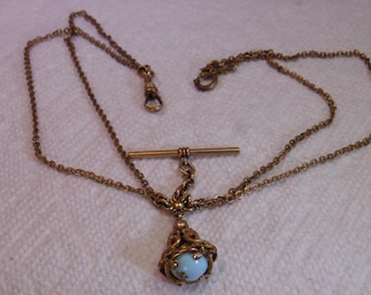 Vintage Rose-Gold-Tone Watch Double Link Chain With Stone Fob Hook