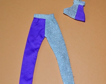 Vintage Barbie 1970's Cher Style Mego Silver and purple 2 piece Disco days clone outfit fashion