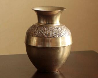 Vintage brass etched vase / ornate brass urn