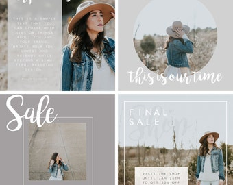 Social Media Posts Templates - Hanna Davis - 8 Templates for Social Media - Instant Download Templates