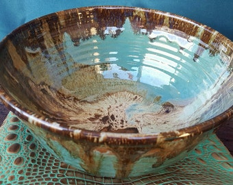 Magnificent Handmade Turquoise and Brown Stoneware Pottery Serving Bowl