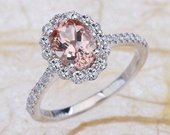 Morganite Engagement Ring White Gold, Morganite White Gold Engagement Ring, Morganite Halo Engagement Ring, White Gold Morganite Engagement