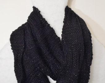 "Black  infinity scarf, 86 "" long 12"" wide, handknit"