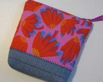 Modern Zippered Pouch, Denim and Floral Project Bag, Pencil Case, Cosmetics Bag, Red and Pink Floral Pouch, Quiltsy Handmade