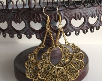 Ethnic Moroccan Look Gold Plated Chandelier Drop Dangle Earrings
