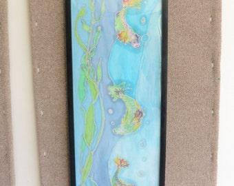 Batik Framed Tapestry, 3 Fish Fiber Art, Trippy Original Art, Ocean Art, Fish Batik
