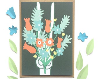 SALE Rabbit with Flowers Card
