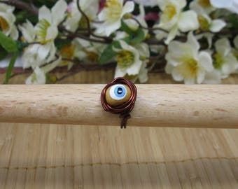 Wire-Wrapped Evil Eye Protection Ring
