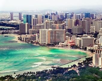 "Hawaiian Art, Hawaii Photography, Waikiki, Oahu, Honolulu, Skyline, Waikiki Beach Print, Aerial Hawaii, Hawaii Wall Decor - ""To Be Waikiki"""