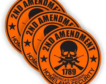 "2nd Amendment 2A Orange/Black (3 PACK) - 2"" Full Color Printed Vinyl Stickers - Hard Hat - Helmet - Phone - Laptop - Etc."