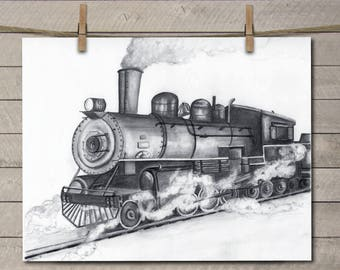 Train Decor - Train Art Decor - Train Wall Art - Train Wall Decor - Train Art - Train Art Print