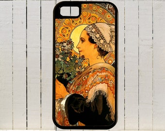 A late 19th Century Soft Warm Mucha Art Nouveau Illustration for iPhone 4, 4S, 5, 5C, 6, 6+ and Galaxies