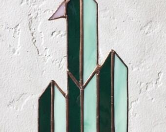 Senita Cactus Sun Catcher // Minimalist Stained Glass Window Hanging