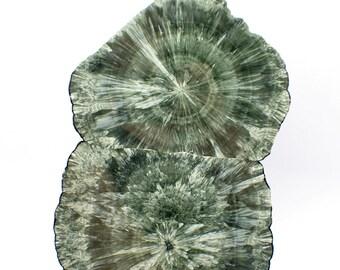 Take 15% off - Seraphinite polished slice from Korshunovskoye Iron mine, Eastern-Siberian Region, Russia - 400gm/  210mm x 150mm x 6.5mm