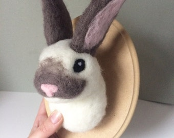 Rabbit made to order Handmade Needle Felted rabbit head Trophy medium easter hare faux