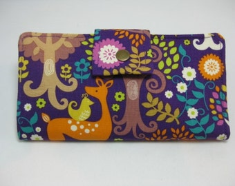 Womens Wallet, Clutch Wallet,  Norwegian Deer and Trees Wallet