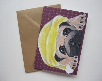 Fawn Pug in a Winter Hat Holiday Card, Pug Christmas Card, Blank Pug Holiday Card by Amber Maki
