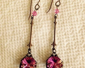 Delicate, drop earrings made with genuine Swarovski crystals