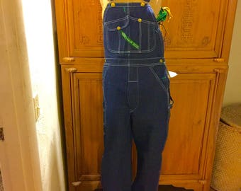 Hipster Vintage NWT Key Bib Apron Thick Cotton Jean Denim USA Overalls Farmhouse Rancher Country Western Rockabilly Pants 30 x 34