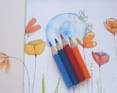 Large brooch with blue, blue and orange colored pencils