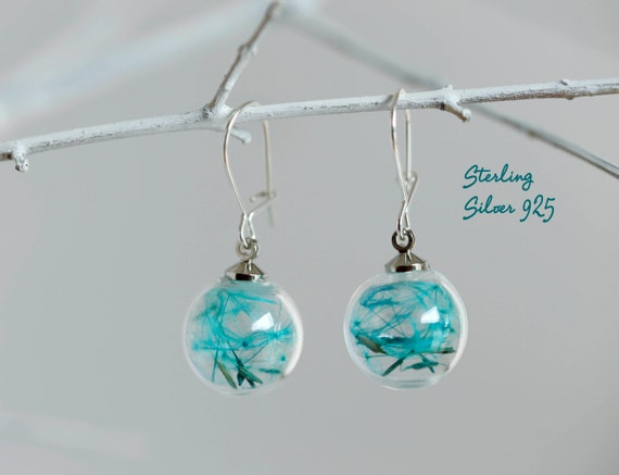 Turquoise Sterling mini Teal Dandelion earrings: silver glass orb Seeds jewelry Botanical Dry Real flowers Weddings Bridesmaids gift