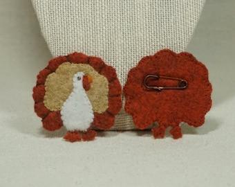 Felt Turkey Brooch Pin, Wool Felt Thanksgiving Brooch *Ready to Ship