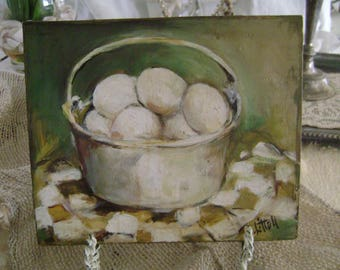 Vintage French Country Still Life With Eggs On A Tablecloth On Wood Board By J. Littell