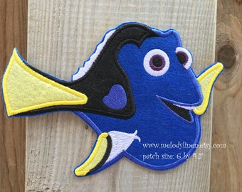 Finding dory patch finding dory iron on patch dory iron on applique fish patch blue fish patch iron on pathc