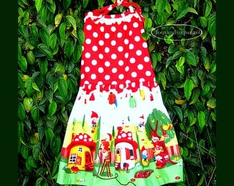 Halter Dress, Toddler Girl, backless halter, gnome dress, polka dots, cotton lined, white lace, fully lined, toddler cotton dress, red dress