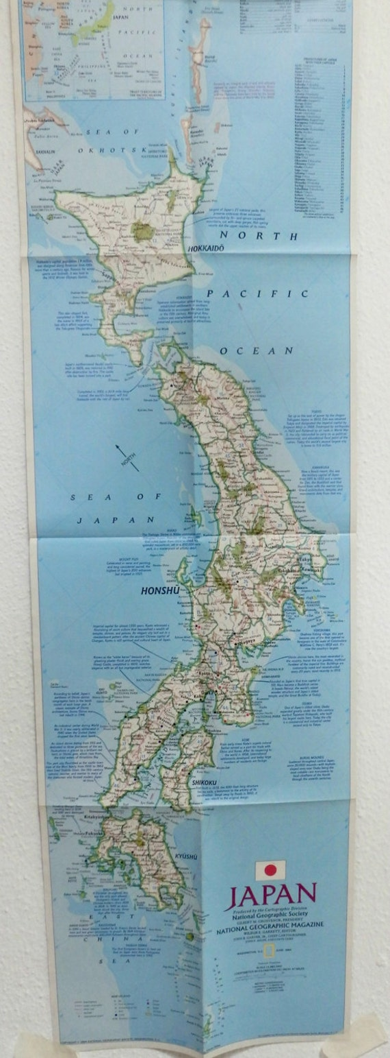JAPAN Map Of National GeographicVintage MapPoster - Japan map large size