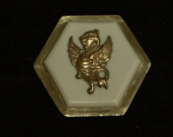 Antique Fabulous Brass Dragon on Celluloid with Brass Base