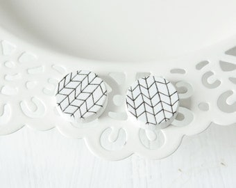 Black White lattice wood earrings D21