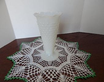 Hob nail milk glass trumpet vase