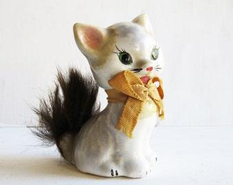 "Vintage Kitty/Kitten Figurine with Fur Tail 2 1/2"""