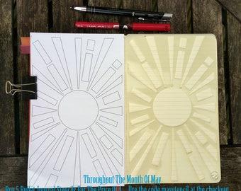 Bullet Journal Stencil. Planner Stencil, Bujo Stencil. Sunburst