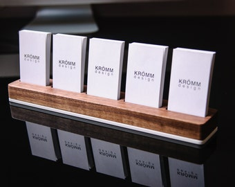 Business Card Holder / Business Card Stand / Business Card Display / Walnut Wood and Acrylic Card Holder