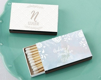 Personalized Wedding Matches - Set of 50 with Etherealn Design - Match Box Wedding Favors (28257-ETH)