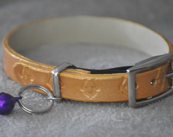 Ella Selection Exotic Gold Leather Cat Collar
