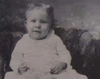 Chubby Cheeks - Original 1880's Cute Little Child Tintype Photograph - Free Shipping