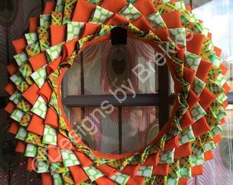 "Handmade ""Sunshine"" Fabric Wreath/ Tangerine, Lime, White/ 12 inches"
