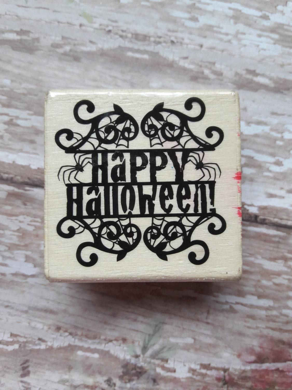 Rubber stamp craft supplies - Happy Hallowen Wood Mounted Rubber Stamp Craft Supplies