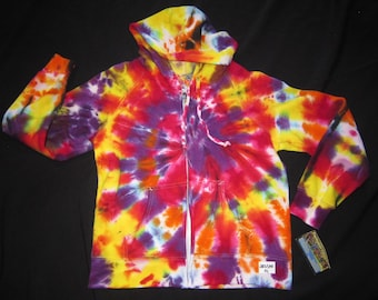 Psychedelic Tie Dye Zip Up Hoodie Sweatshirt, Junior Size Medium