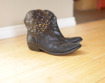 vintage black silver embellished ankle boots western cowboy booties womens 8 1/2
