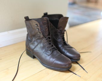 vintage brown leather oxfords ankle boots lace up womens 7 1/2