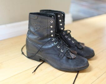 vintage black leather fringe roper ankle boots lace up womens 9