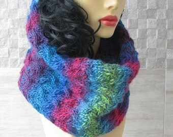 Knitted scarf infinity, cowl, Knit neck warmer, loop, tube in Boho Style